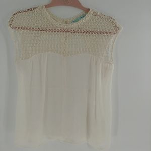 Lace and sheer crew neck white maurices blouse